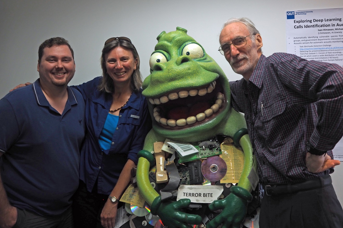 Anthony, Liz, the TERROR BITE Monster (our favourite relic), and Michael at the lab